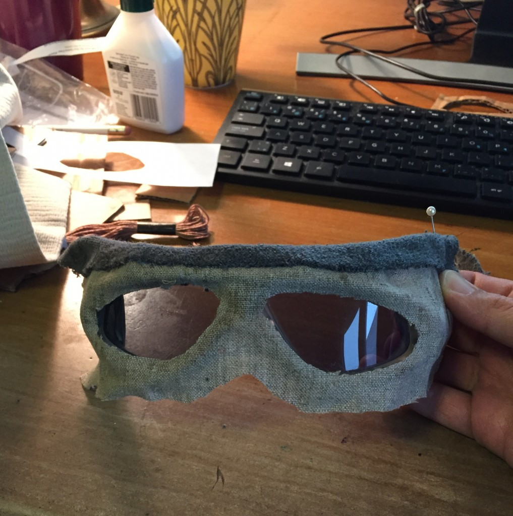Glueing grey fabric to goggles