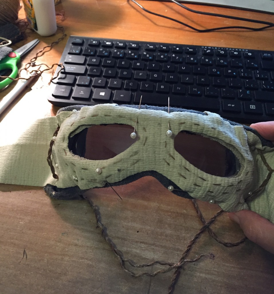 Goggles with stitched overlay drying