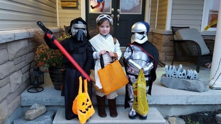 Happy Hallowe'en from Kylo Ren, Rey, and Captain Phasma!